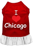 I Heart Chicago Screen Print Dog Dress Red with White Lg (14)